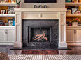 Soapstone fireplace, 1/4in bevel edge