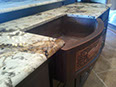 Patagonia granite with hammered copper farm sink, demi-bullnose edge
