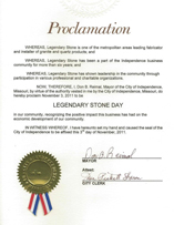 Proclamation for Legendary Stone Day, November 3, 2011